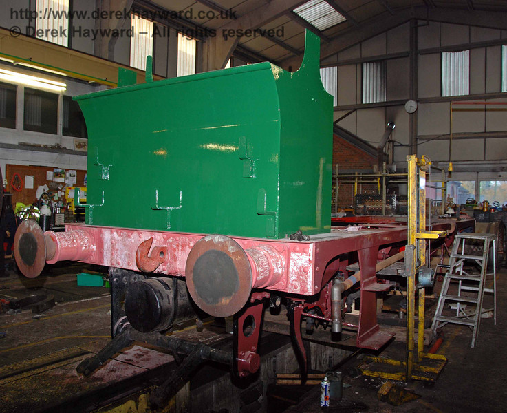 The bunker of 178 with a fresh coat of paint. Sheffield Park Workshops 15.11.2009