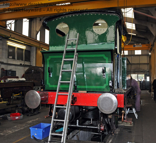 The rear offside of 178, with the cab roof now fitted. Sheffield Park Workshops 13.02.2010  479