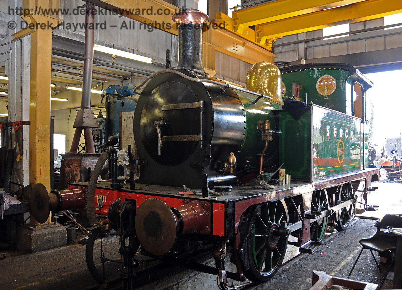 178 in SECR livery, with a nice shine on the refurbished dome cover and some windows in the cab. Sheffield Park Workshops 17.04.2010  1918