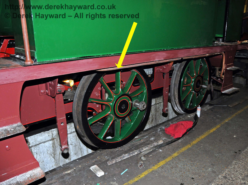 The central driving wheels are now in position. Sheffield Park Workshops 06.02.2010