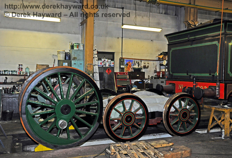 A start has been made on painting the driving wheels from 263. Sheffield Park Workshops 27.02.2010  962