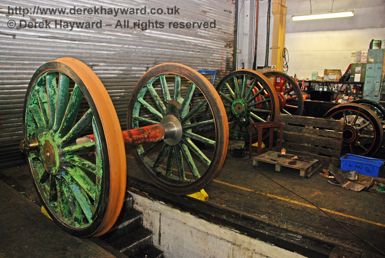 Both sets of reprofiled driving wheels from 263 have now been moved inside Sheffield Park Workshops, but limitations on space have resulted in them being accommodated in different roads. 30.01.2010