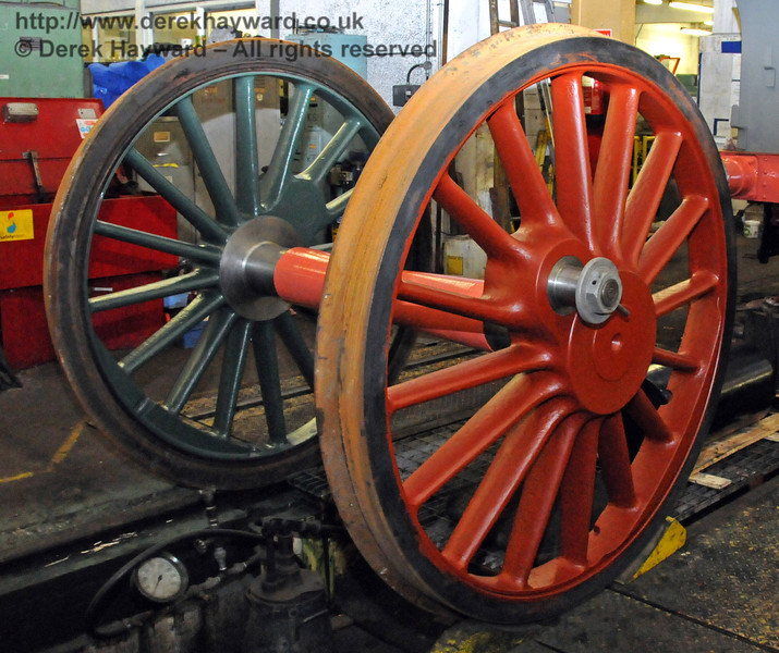 The final set of driving wheels from 263 are now receiving their first coats of paint. Sheffield Park Workshops 13.03.2010  1385