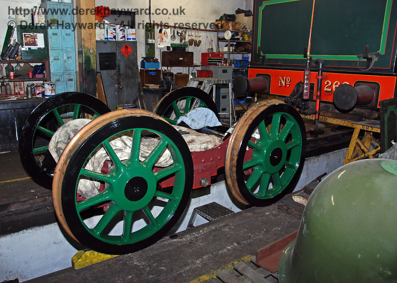 The reprofiled wheels have now been fitted to the bogie for 263. Sheffield Park Workshops 13.12.2009