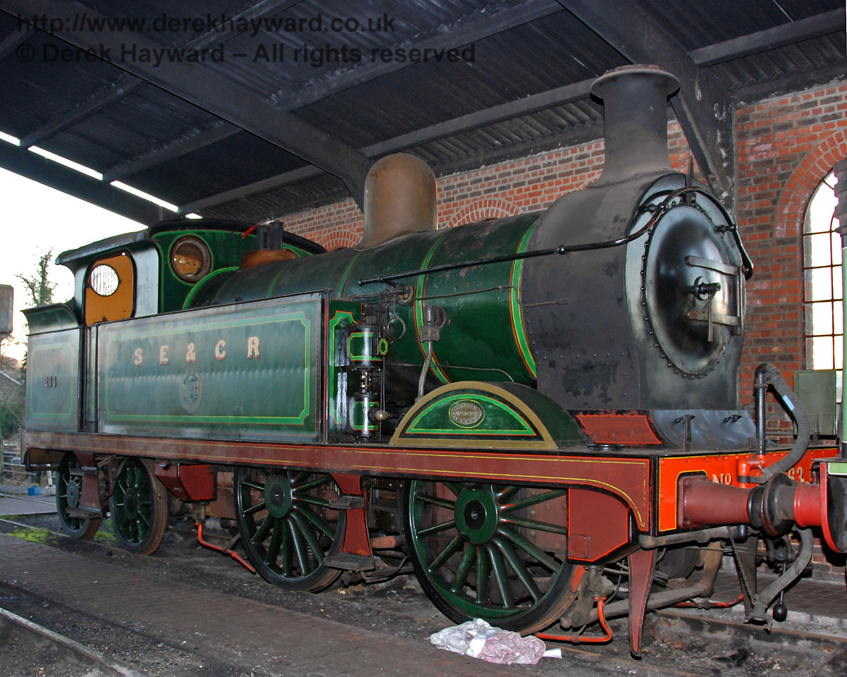A shunt in the shed allowed this shot of South Eastern & Chatham Railway, Class H, 263. Sheffield Park 16.12.2007