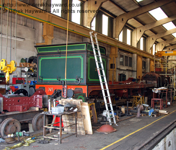 The frames and rear bogie of 263 in Sheffield Park Workshops. 23.08.2009