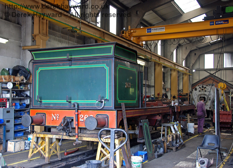 The frames from South Eastern and Chatham Railway, H class, 263, currently occupy the space vacated by Sir Archibald Sinclair. Sheffield Park Workshops 17.06.2009