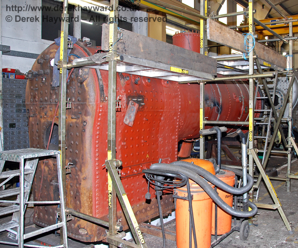 The boiler from 263 with some scaffolding erected to facilitate work. Sheffield Park Workshops 23.10.2009.