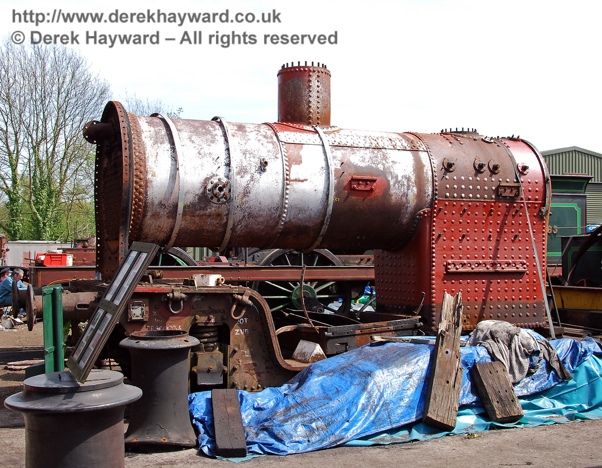 A closer view of the boiler from H class 263 outside Sheffield Park Workshops. 23.04.2009