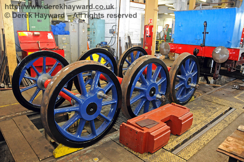The wheels for 323 Bluebell in the new darker shade of blue. Sheffield Park Workshops 17.04.2010  1907