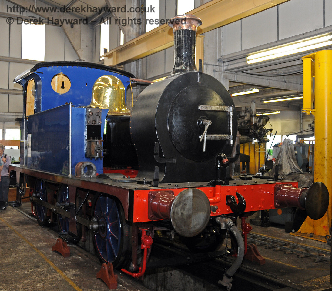 323 Bluebell, minus boiler, on display during the 50th Anniversary celebrations. Sheffield Park Workshops 07.08.2010  3760