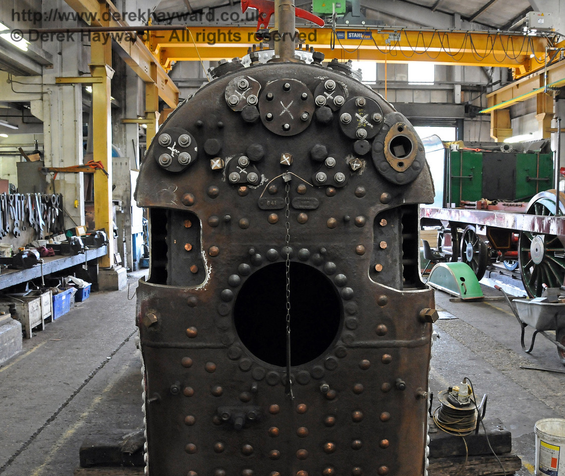 The boiler from 323 awaiting repair to removed sections. Sheffield Park Workshops 15.08.2010  4063
