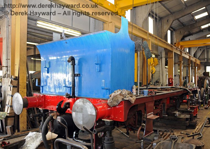 Further painting has taken place on the bunker and rear buffer beam. the sunlight streaming into the workshop makes the colour appear lighter than is actually the case. Sheffield Park Workshops 24.06.2010  2795