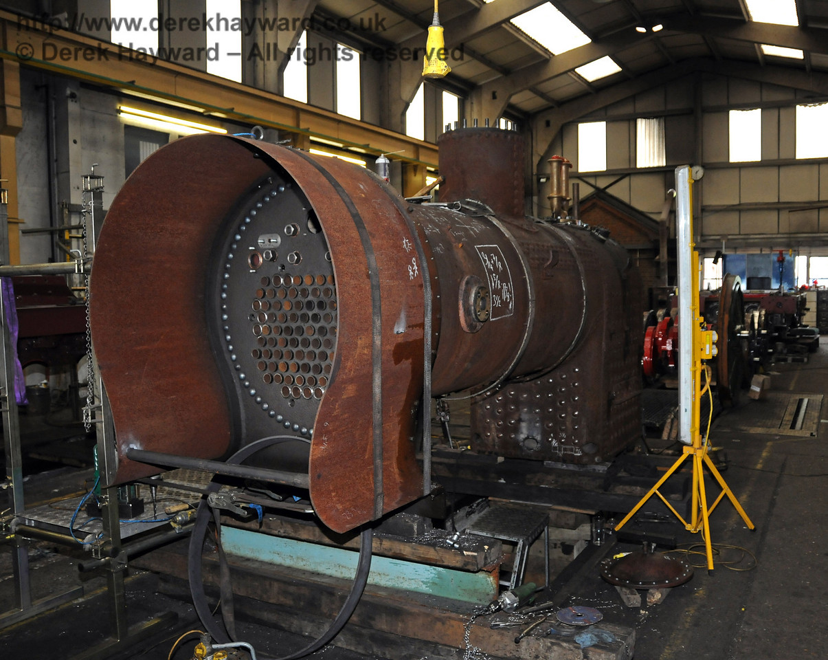 The front nearside of the boiler from 323, with the smokebox being fabricated. Sheffield Park Workshops 07.07.2010  2987