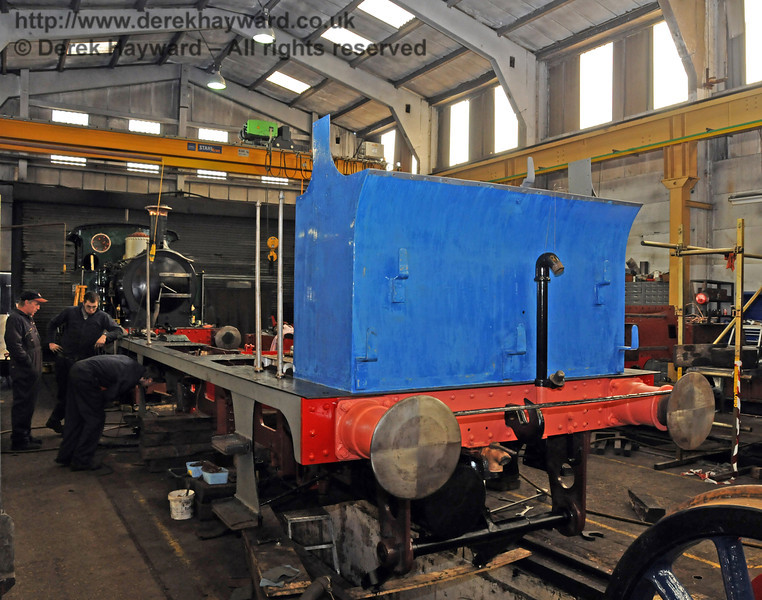 The rear of the bunker of 323 Bluebell has been rubbed down ready for another coat of paint. Sheffield Park Workshops 11.04.2010  1836