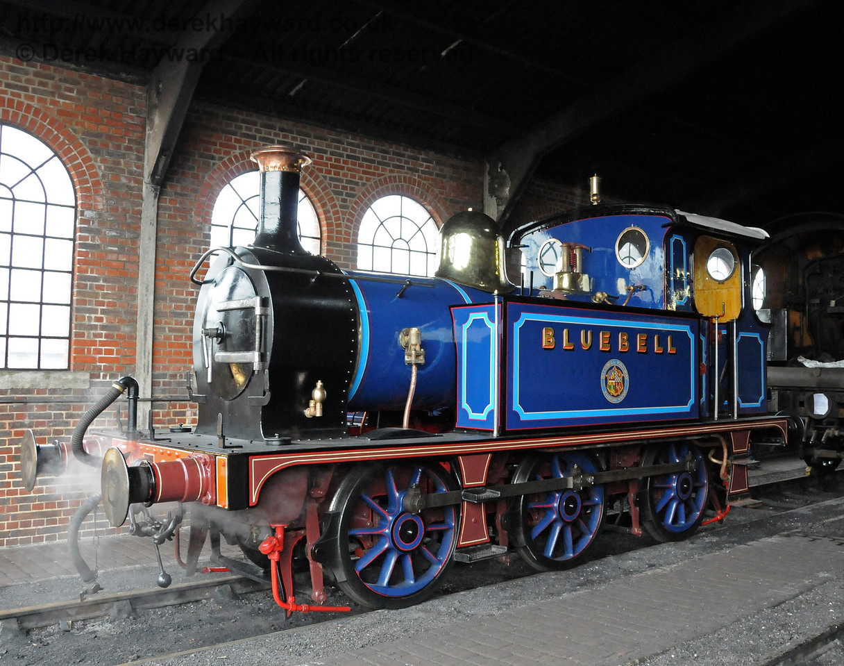 323 Bluebell, released from Workshops and on shed at Sheffield Park.  12.03.2011  6257
