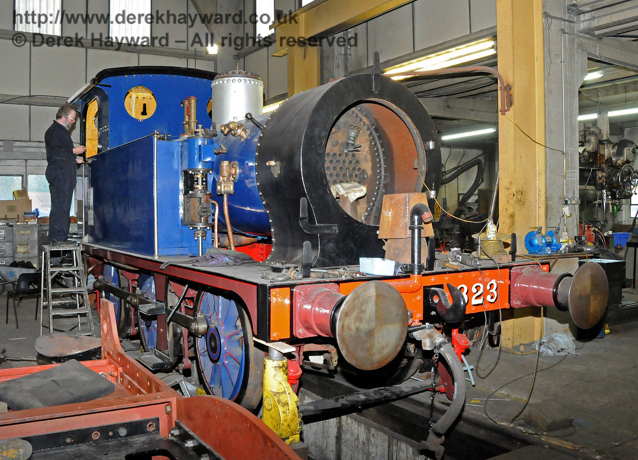 With the boiler back in the frames work was continuing on 323 Bluebell.  Sheffield Park Workshops 12.02.2011 5871