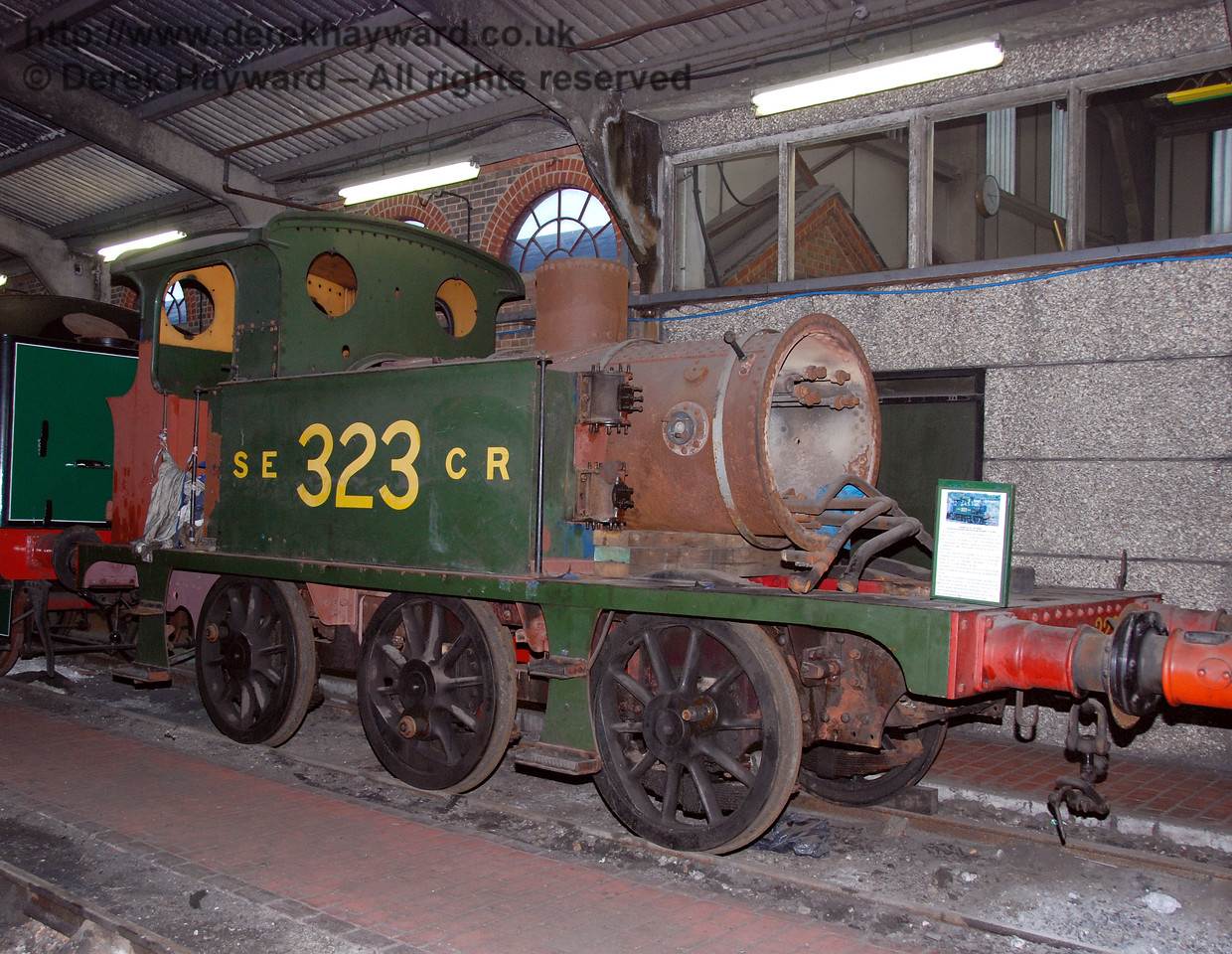 SECR Wainwright P-class tank 323, formerly Bluebell, pictured during a shunt in Sheffield Park Shed. 14.01.2007