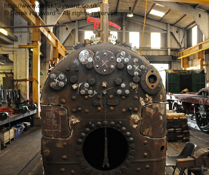 The boiler from 323 with newly fabricated patches in place, awaiting welding in due course. 04.09.2010  4527