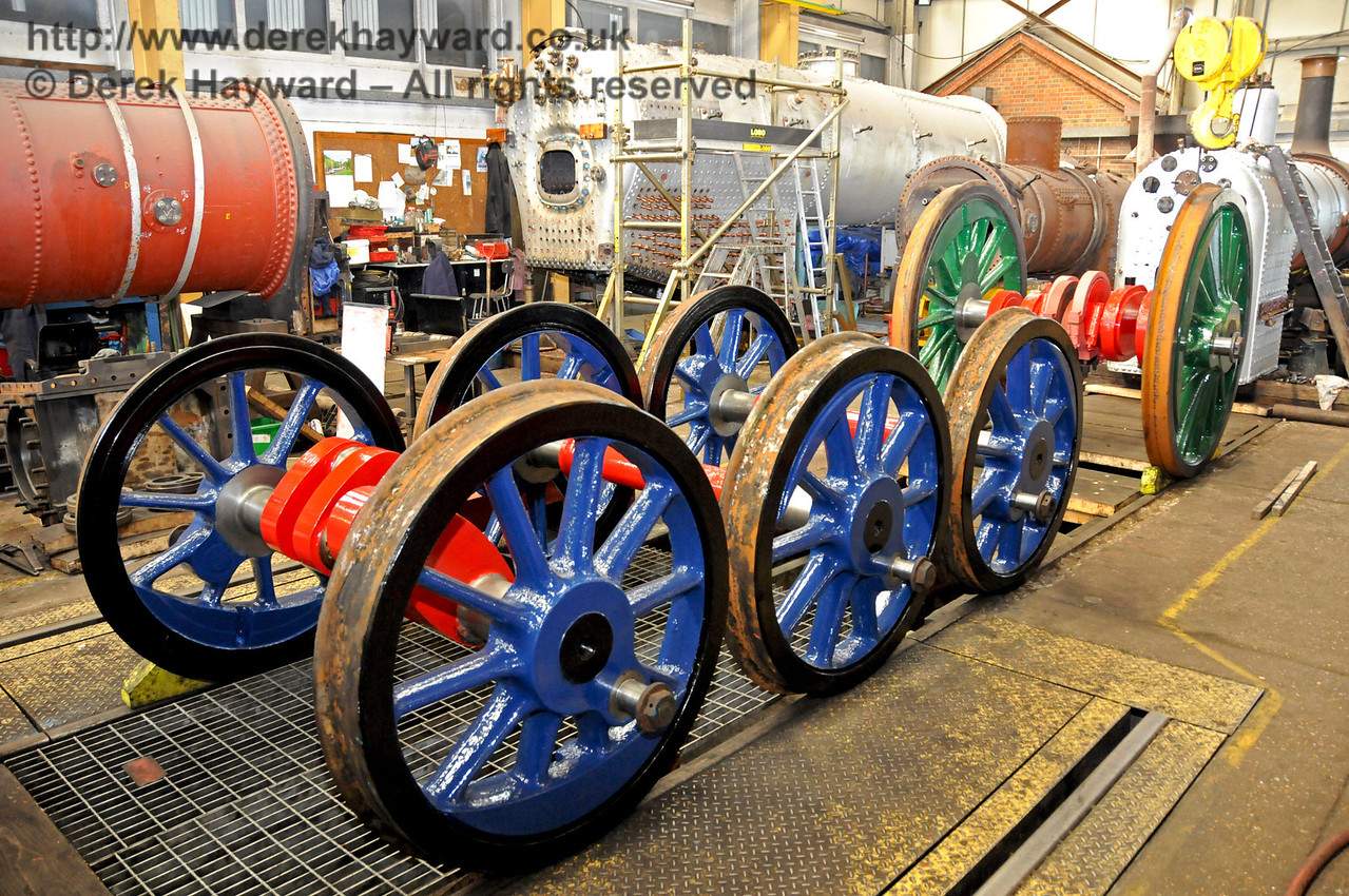 The wheels for 323 Bluebell in the new darker shade of blue. In the background are the front of the boiler for 263, and the boilers for 847, 323 Bluebell and 55 Stepney. Sheffield Park Workshops 17.04.2010  1904