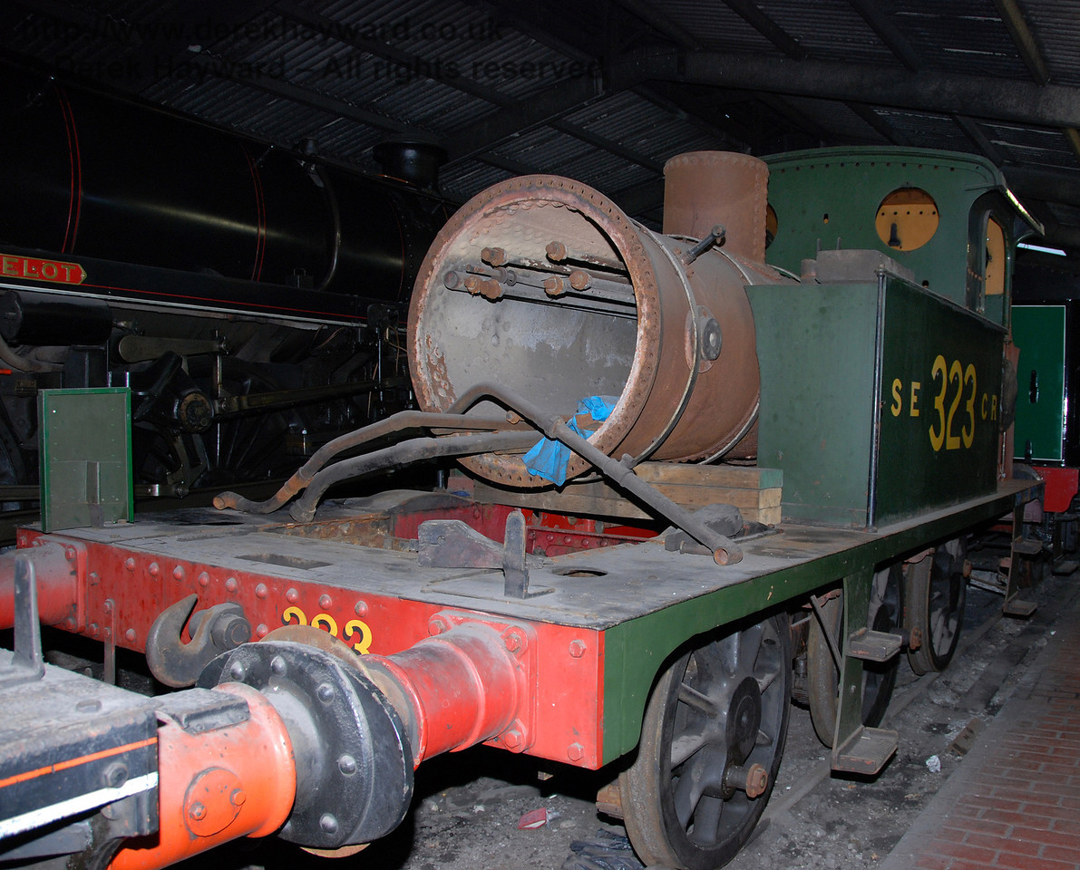 A third view of 323 Bluebell, partially dismantled, inside Sheffield Park Shed. It's overhaul was suspended at the time. 01.01.2007