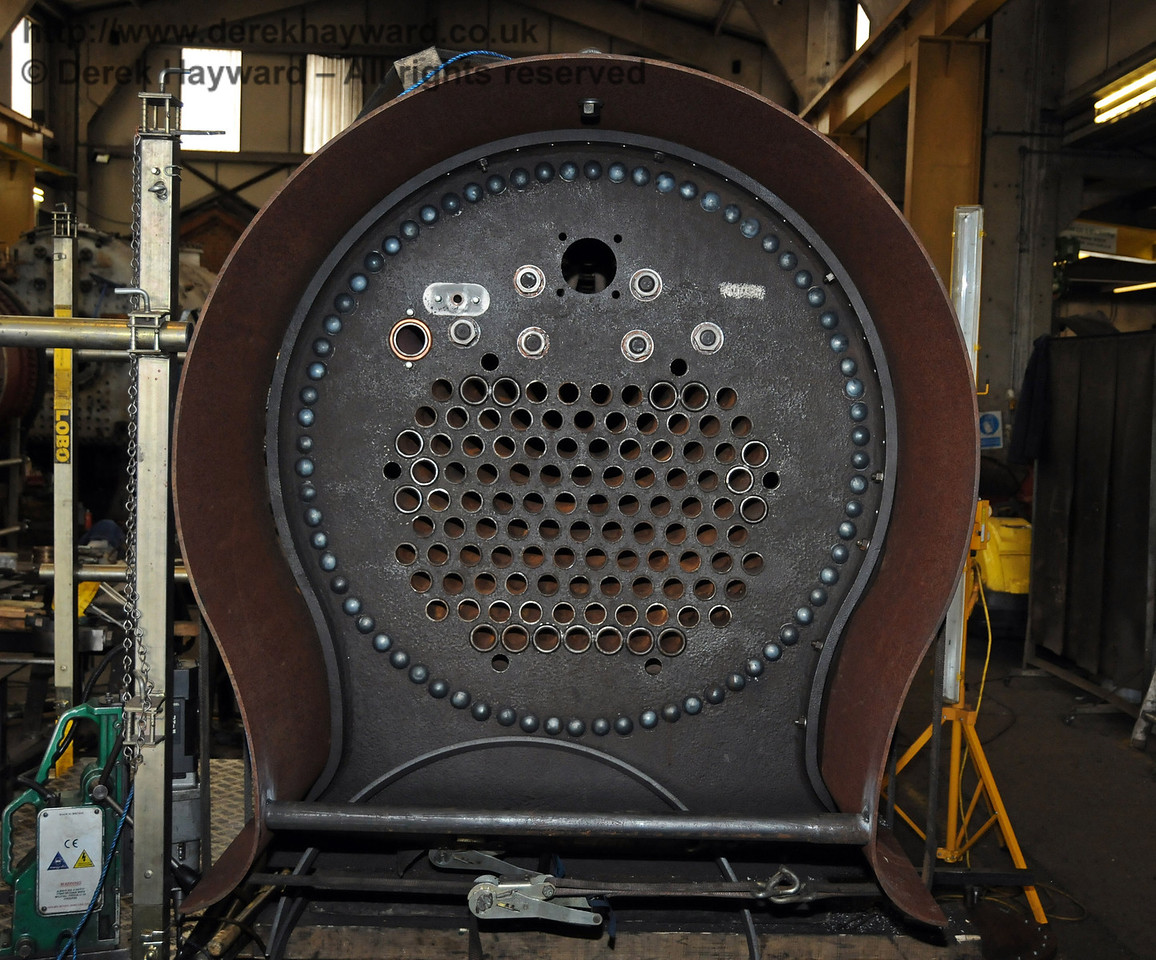 A close up of the tube plate from 323, with the rivets in place. Sheffield Park Workshops 07.07.2010  2988
