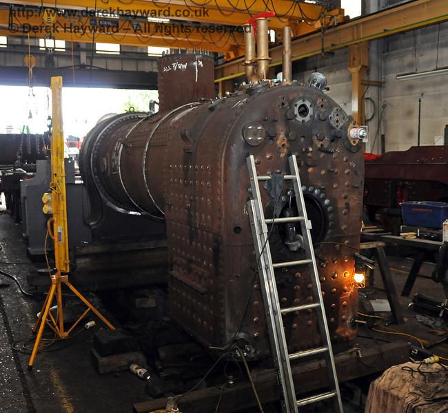 The rear nearside of the boiler from 323. Sheffield Park Workshops 07.07.2010  3000