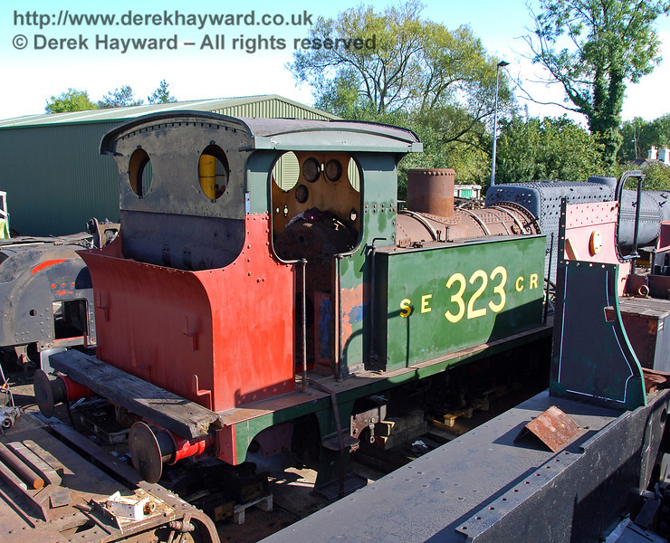 323 (minus wheels) outside Sheffield Park Workshops.  Restoration work to the bunker is obvious. 12.09.2009