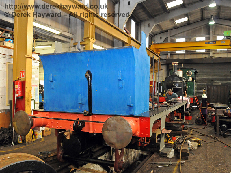 The rear of the bunker of 323 Bluebell has been rubbed down ready for another coat of paint. Sheffield Park Workshops 11.04.2010  1839