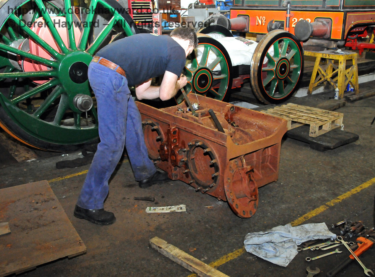 The nuts and bolts on the new cylinders have not turned for many years and a good deal of encouragement was required to release them. Sheffield Park Workshops 21.03.2010  1524