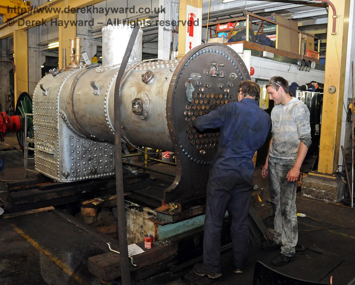 Adjustments to the boiler of 323 Bluebell. Sheffield Park Workshops 18.07.2010  3175