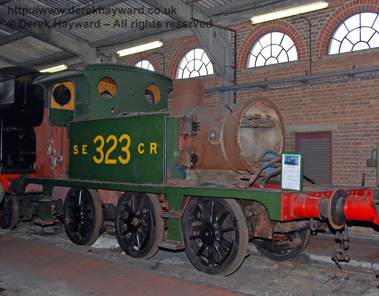 An earlier view of SECR Wainwright P-class tank 323, stored in Sheffield Park Shed, it's overhaul having been suspended. 22.06.2008