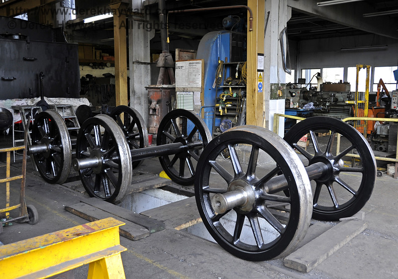 The wheels from the tender of 541 inside Sheffield Park Workshops.  16.04.2012  4371