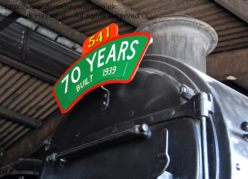 A headboard on 541 marks the fact that it was built 70 years ago. Sheffield Park Shed 23.04.2009