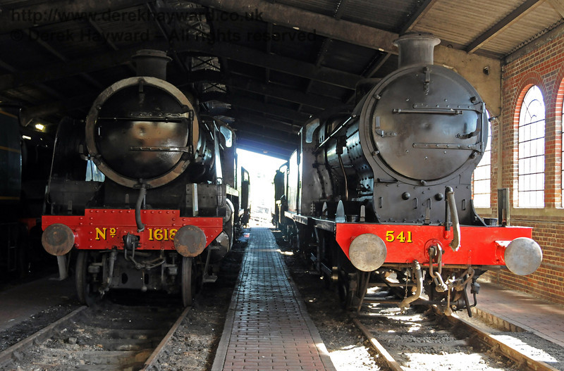 SR Maunsell Q Class, 541, and 1618 being prepared for display at the 50th Anniversary celebrations. Sheffield Park Shed 18.07.2010  3193