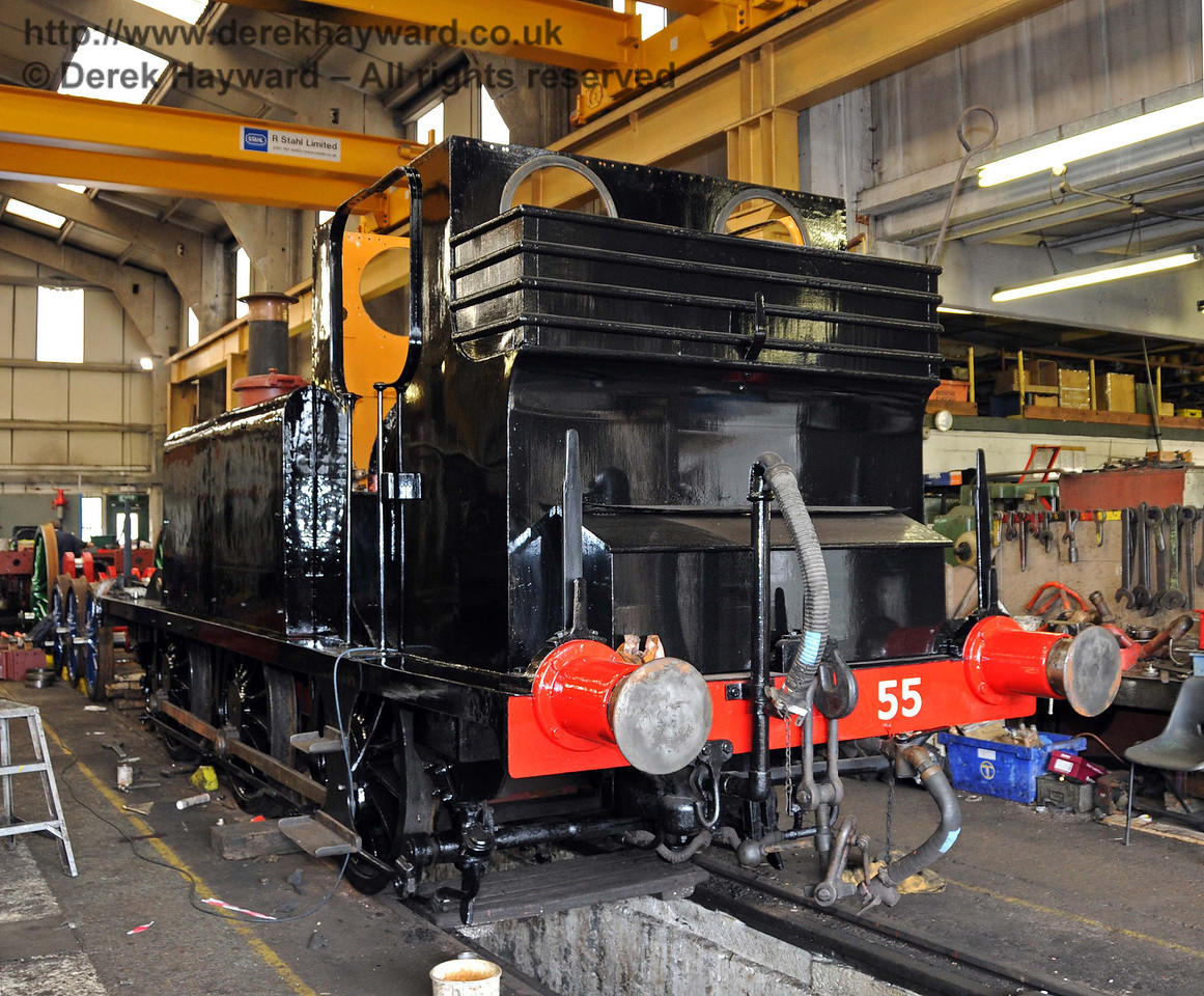 The rear nearside of Stepney with reassembly well progressed. Sheffield Park Workshops 28.04.2010  2095