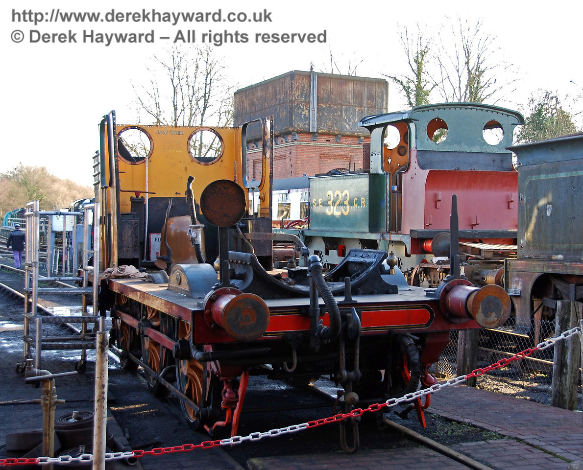 Having been cleaned, Stepney's frames and wheels have been moved to a shed road. The boiler remains in Sheffield Park Workshops. 30.01.2010