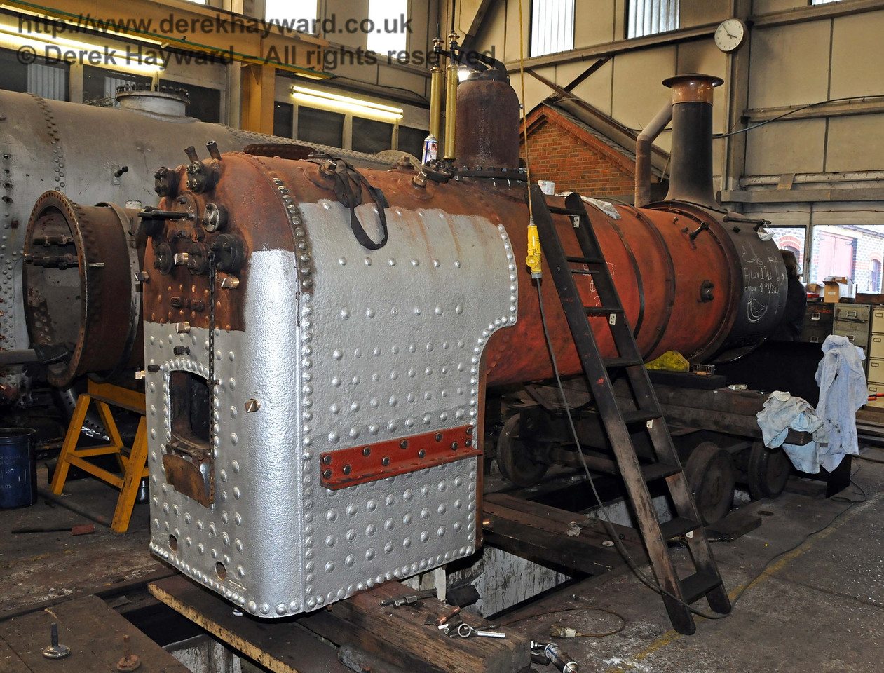 Work has been carried out on Stepney's firebox. Sheffield Park Workshops 11.04.2010  1833