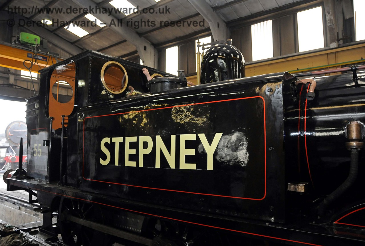 A close up of the new lining on Stepney, which is still in progress. Sheffield Park Workshops 01.05.2010  2199