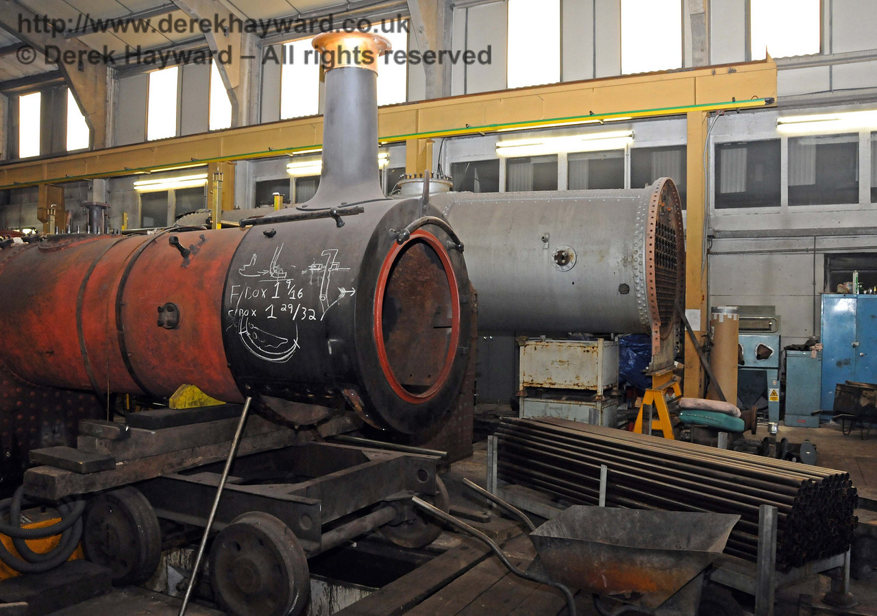 Some boiler tubes are now stacked by Stepney's boiler, but work is currently concentrated on 323 Bluebell. Sheffield Park Workshops 21.03.2010