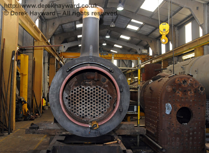 Although the work is not yet complete, new tubes are now in Stepney's boiler. Sheffield Park Workshops 26.03.2010  1611