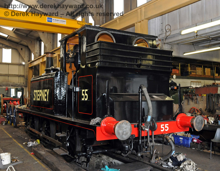 The rear nearside of Stepney with the name and number applied. Sheffield Park Workshops 01.05.2010  2209