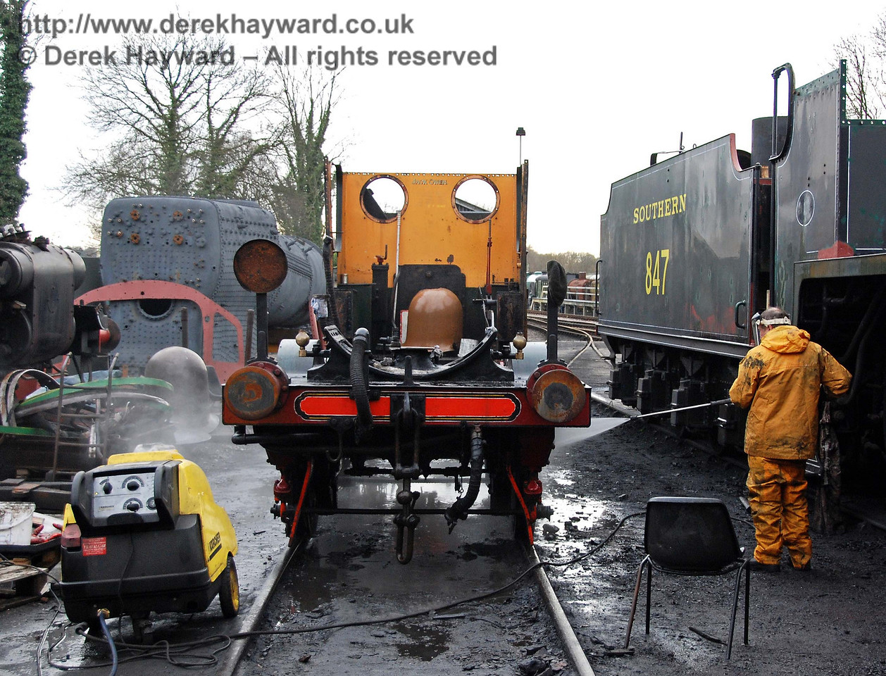 The frames from Stepney being power washed outside Sheffield Park Workshops. 24.01.2010