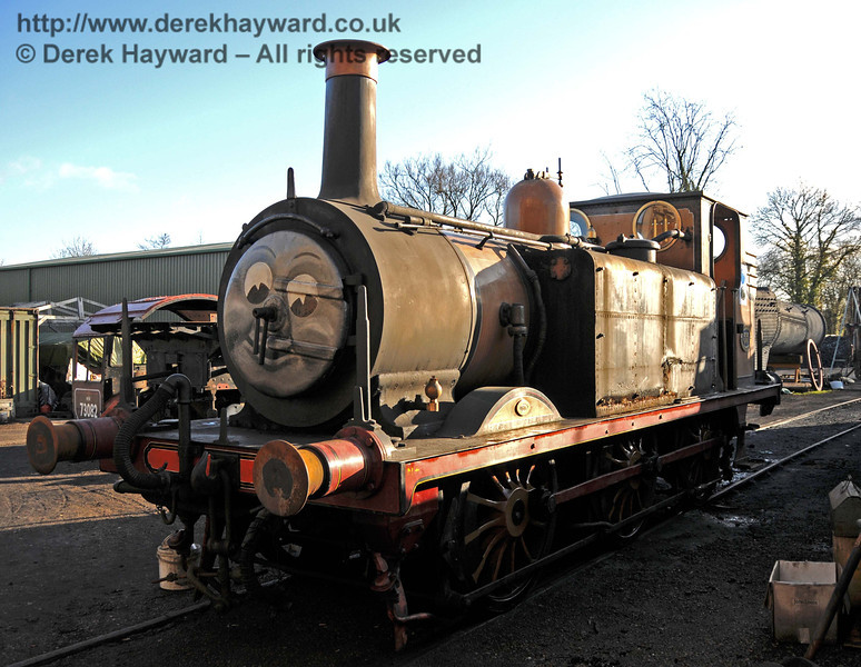 A rather sad and tatty looking Stepney, with the tank covers removed prior to overhaul. Apologies for the poor quality picture, but the engine was in heavy shadow. Sheffield Park Workshops 01.01.2010