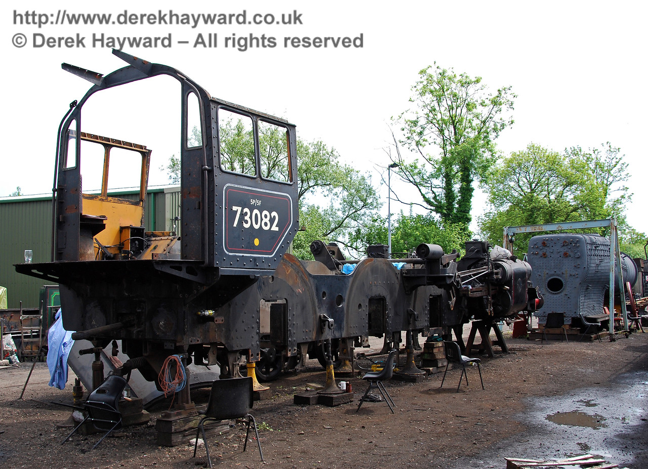 The frames from 73082 Camelot outside Sheffield Park Shed, with it's boiler in the background. 24.05.2009