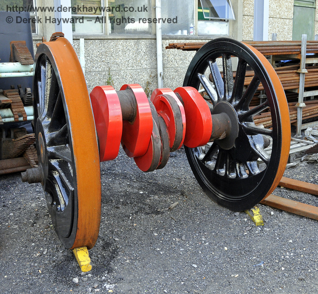 The refurbished driving wheels from 73082 Camelot outside Sheffield Park Shed (see also next picture).  29.06.2013  9233