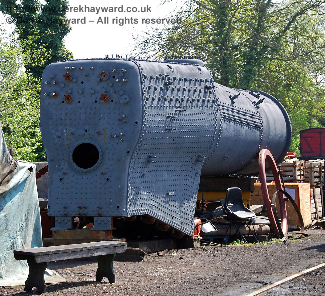 The boiler from 73082 Camelot outside Sheffield Park shed. 24.04.2009