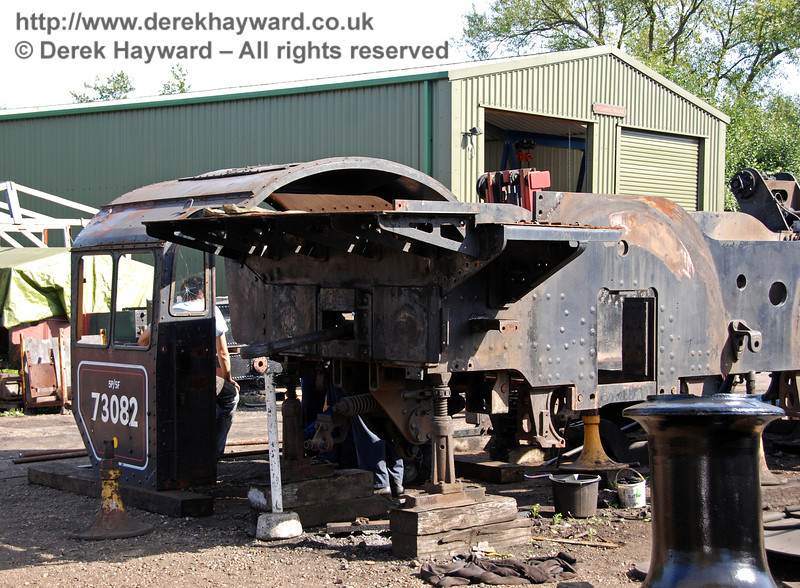 The cab of 73082 Camelot has now been removed from the frames. Sheffield Park Shed 23.08.2009