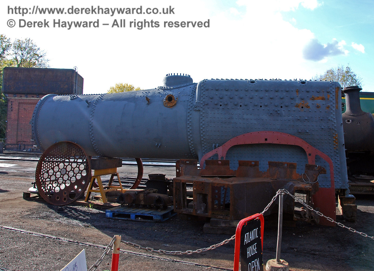 The boiler from 73082 Camelot looking rather less rusty than in previous months. Sheffield Park Shed 17.10.2008