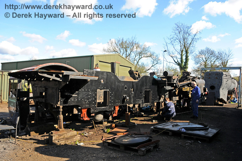 With the arrival of warmer weather work was continuing on the frames from 73082 Camelot, prior to the return of the wheels from Devon. Sheffield Park Workshops 11.04.2010